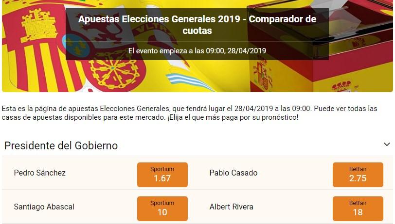 Apuestas elecciones generales