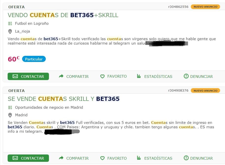 Venta de cuentas Skill y Bet365 Milanuncios